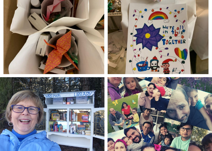 A collage of different NSG projects: a set of care packages, a woman in front of a little outdoor library, and several photos of families.